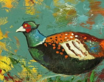Pheasant painting 24 12x24 inch original oil painting by Roz