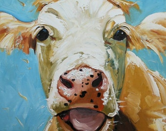 Print Cow 310 20x20 inch Print from oil painting by Roz
