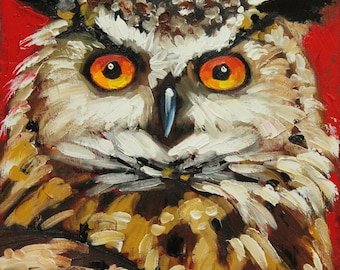 Owl 39 20x20 inch Print from oil painting by Roz