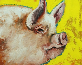 Pig painting 277 12x12 inch original oil painting by Roz