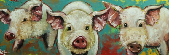 pigs painting 25 12x36 inch original oil painting by roz etsy