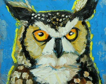 Owl painting 140 12x12 inch original oil painting by Roz