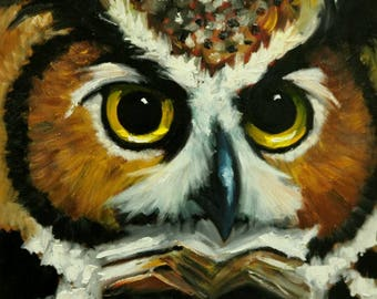 Owl painting 136 24x24 inch original oil painting by Roz