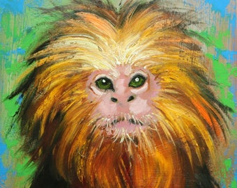 Monkey painting 1 12x12 inch original oil painting by Roz
