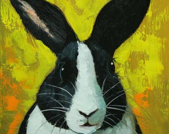 Rabbit painting 87  12x12 inch original oil painting by Roz