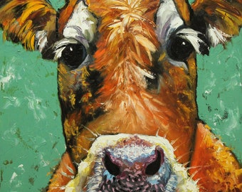 Print Cow 484 10x10 inch Print from oil painting by Roz