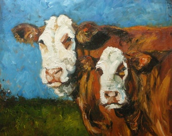 Print Cow114 10x10 inch Print from oil painting by Roz