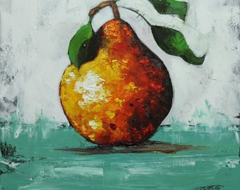 Pear painting 35 18x18 inch original oil painting by Roz