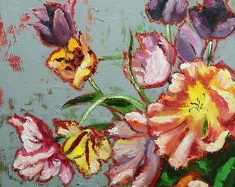 Floral painting 265 24x24 inch original still life oil painting by Roz