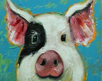 Pig painting 276 12x12 inch original oil painting by Roz