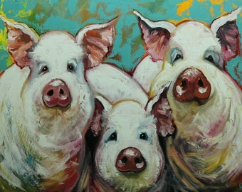 Pigs painting 23 30x40 inch original oil painting by Roz