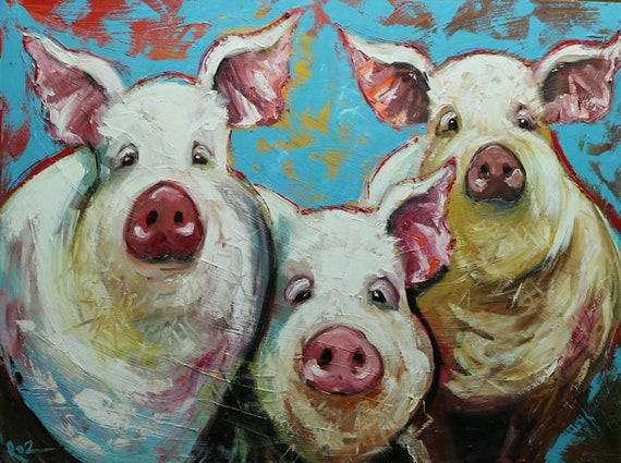 pigs painting 26 30x40 inch original oil painting by roz etsy