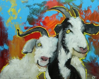 Goats portrait painting 4 24x30 inch original oil painting by Roz