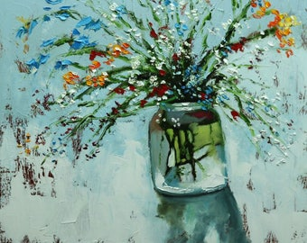 Floral painting 257 24x24 inch original still life oil painting by Roz