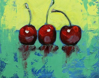 Cherries 16 still life painting 12x12 inch original oil painting by Roz