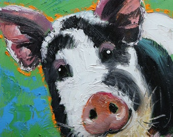 Pig painting 278 12x12 inch original oil painting by Roz