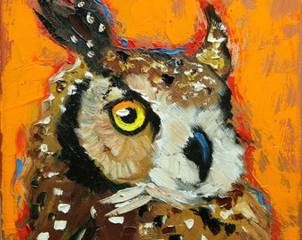 Owl painting 139 12x12 inch original oil painting by Roz