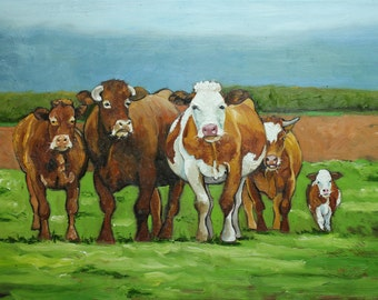 Print Cows 441 24x36 inch Print from oil painting by Roz