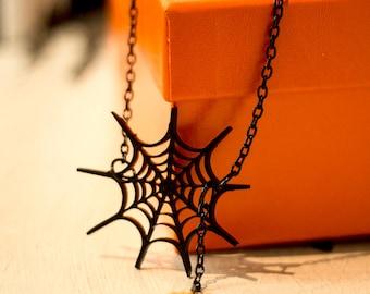 Spider Web Necklace,Halloween Jewelry,Halloween Accessories,Lasercut Acrylic