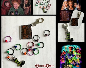 Hocus Pocus Stitch Marker and Progress Marker Set, knitting supplies, notions, progress keeper, Halloween, knitting accessories, Sanderson