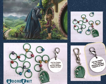 Good Morning Progress and Stitch Marker Set, inspired by Hobbit and Lord of the Rings progress markers, knitting, progress keeper, snag free