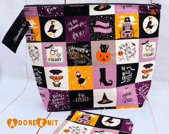 Eat, Drink, and be Scary Knitting Project Bag, Notions Pouch, Crochet, Yarn Tote, Zippered Project Bag, Witch, black cat, haunted Halloween