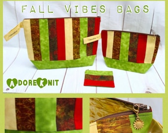 Fall Vibes Knitting Project Bag, Notions Pouch, One of a kind, Crochet, Yarn Tote, Zippered Project Bag, Halloween, Christmas