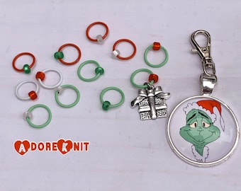 10 Grinches +2 Progress and Stitch Marker Set, Grinch inspired, dr Seuss, knitting supplies, notions, gift, progress keeper, Christmas, gift