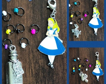 presented on sturdy kilt pin stitch holders Set of 5 Alice in Wonderland stitch markers bag charms work savers