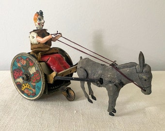Antique Tin Clown, German Lehman Wind-up Toy, Balky Mule Cart, Early 1900s
