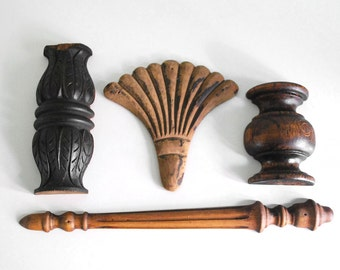 Carved Wood Pieces, Architectural Salvage, Rustic Decor, Furniture Fragments, Vintage Wall Hanging, Assemblage Supplies, Hand Carved Wood