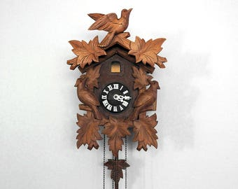 Bird Cuckoo Clock, Black Forest West Germany, 1960s Carved Wood Clock, Regula Clock, Rustic Home Decor, Cabin Chic, Wood Wall Clock