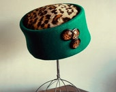 Emerald and Leopard Vintage Hat, by Sonni of San Francisco