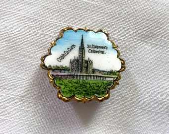 Antique Enamel Brooch, Brass Souvenir Pin from St. Colman's Cathedral, Cobh, Ireland