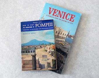 Italian Travel Guidebooks, Vintage Bonechi Guides to Venice and Pompeii