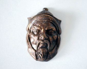 Joseff of Hollywood Turban Head Jewelry Mold, Vintage Jewelry Making Supplies, Genghis Khan, 1940s Brass Metal Head