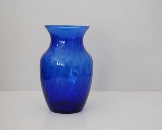 Cobalt Blue Vase Vintage Tall Glass Vase Swirl Design Royal Etsy