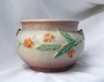 Roseville Bittersweet Jardeniere, 1940s Ceramic Pottery Planter 800-4, Vintage Gray, Burnt Orange, and Green Indoor Planter or Vase