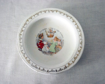 Antique Ironstone Baby Bowl, Holdfast Baby Plate with Nursery Rhyme, English D.E. McNicol Dish
