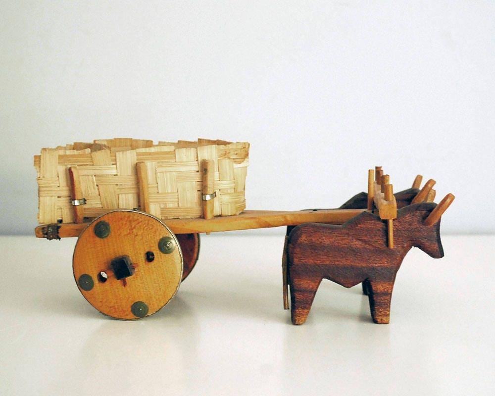 Hölzerne Ox Warenkorb Jahrgang Brasilien Spielzeug Primitive