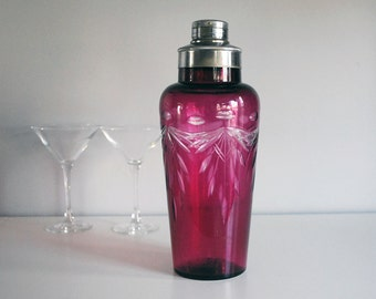 Glass Cocktail Shaker, 1950s Vintage Barware, Cranberry Red Cut to Clear Glass, Amethyst Pink, Japan Art Deco Drink Pitcher, Boho Decor
