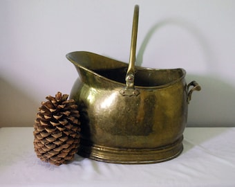Brass Coal Scuttle, Antique Brass Fireplace Bucket, Primitive Rustic Home Decor, Firewood Log Storage, Victorian Hammered Brass, Planter