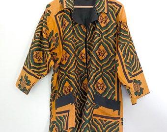 1990s African Jacket, Orange and Black Halloween Jacket, by Africadabra in Tanzania