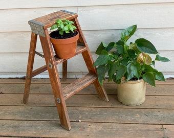 Wooden Step Ladder, Vintage Folding Ladder / Plant Stand