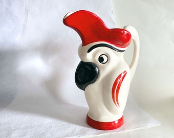 1930s Czech Parrot Pitcher, Vintage Ditmar Urbach Figural Pottery Jug, Red White and Black Bird Ceramic Pitcher