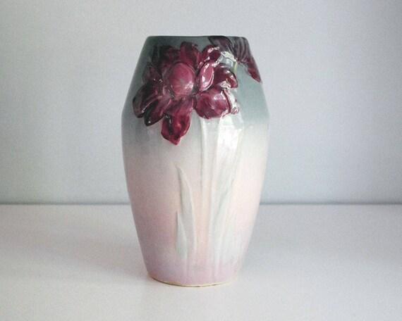 Weller Pottery Vase Pink Gray Ombre Etna Flower Vase Antique Etsy