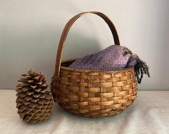 Splint Wood Basket, Vintage Large Woven Basket with Bentwood Handle, Farmhouse Decor
