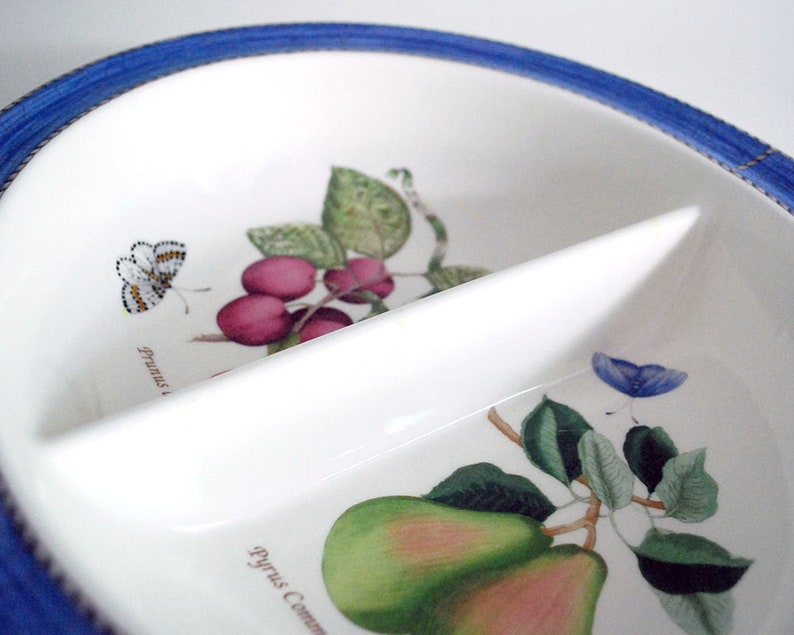 Queen/'s Ware Blue Vegetable Bowl Sarah/'s Garden Earthenware English China Fruit and Butterflies Wedgwood Divided Serving Bowl
