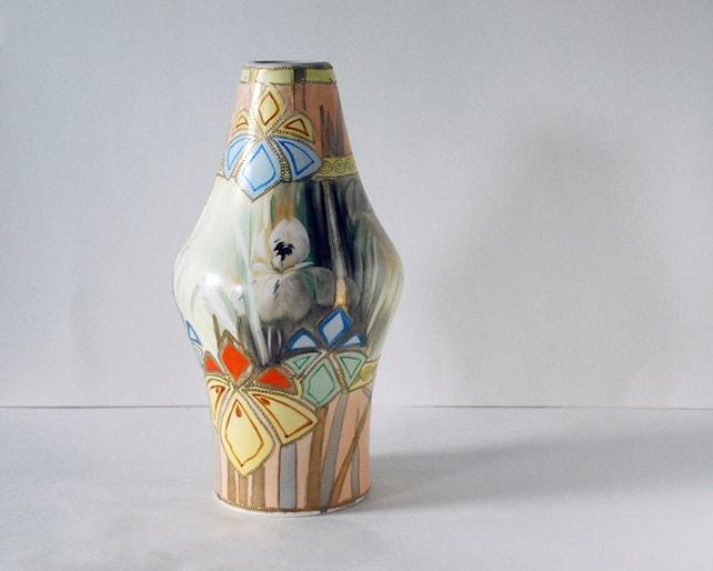Antique Nippon Vase Art Deco Pottery Gold Moriage Hand Etsy