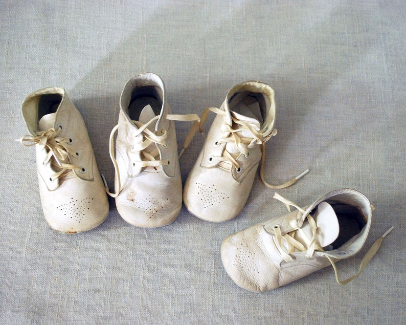 60b2a3d8ee791 1950s Baby Shoes, 2 Pairs White Leather Toddler Shoes, Mrs. Day's Ideal  High Tops, Vintage Nursery Decor